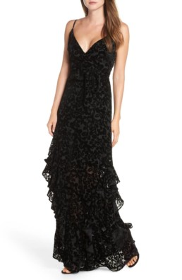 ML MONIQUE LHUILLIER Velvet Burnout Tiered Black Gown