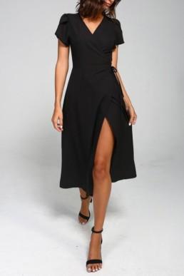 MOD&SOUL Tulip Sleeve Wrap Midi Black Dress