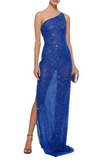 NAEEM KHAN One-Shoulder Sequined Organza Blue Gown