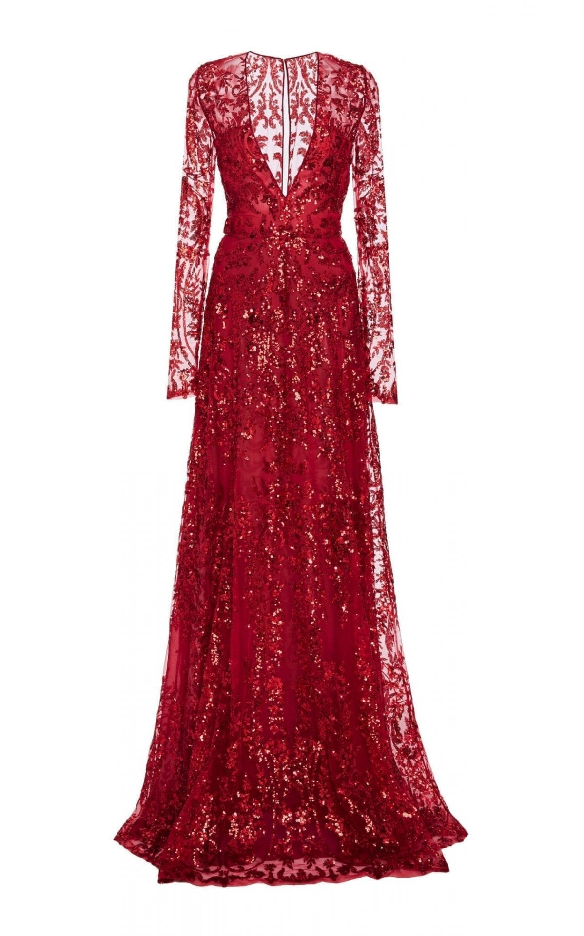 NAEEM KHAN Sequined Chiffon Red Gown 2