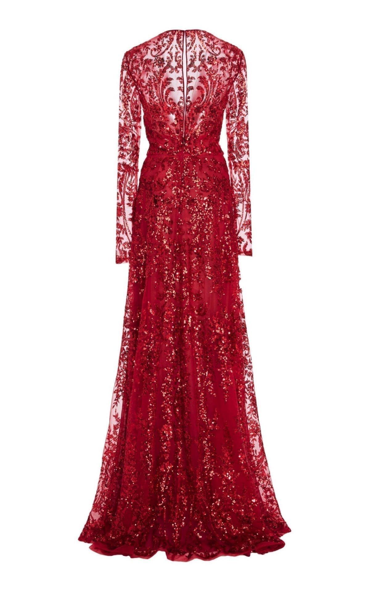 NAEEM KHAN Sequined Chiffon Red Gown 3
