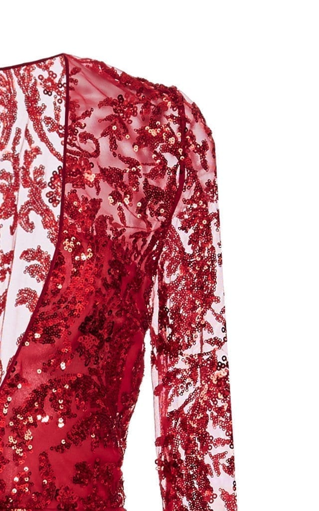 NAEEM KHAN Sequined Chiffon Red Gown 4