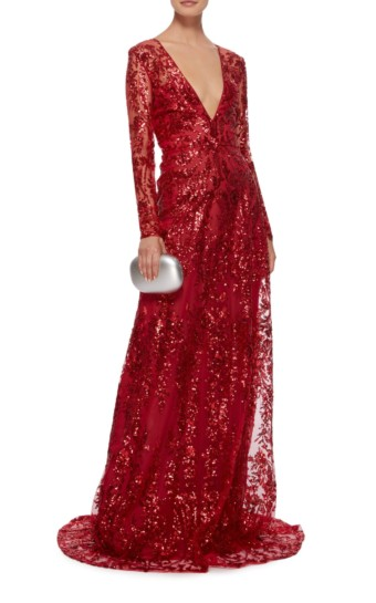 NAEEM KHAN Sequined Chiffon Red Gown