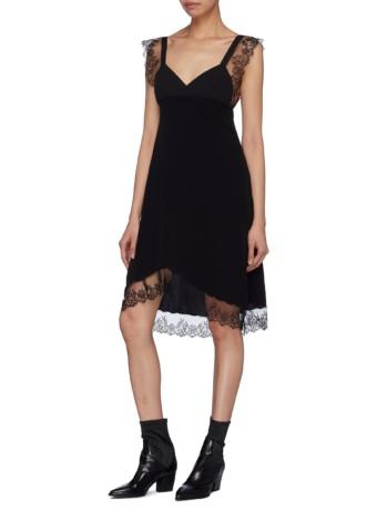 NEIL BARRETT Chantilly Lace Trim Crepe Black Dress