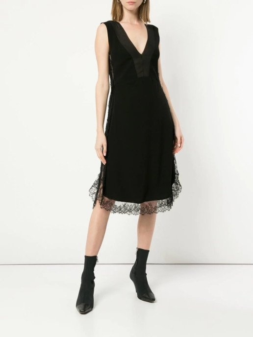 NEIL-BARRETT-Lace-Trim-Knee-Length-Black-Dress