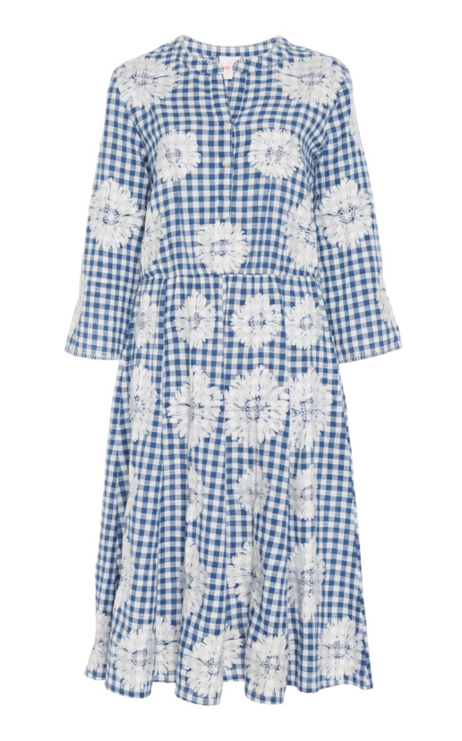 NIMO-WITH-LOVE-Gingham-Floral-Cotton-Midi-Blue-Dress