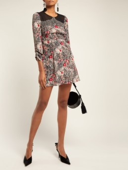 NO. 21 Embellished Silk Mini Multi / Floral Print Dress