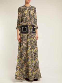 NO. 21 Floral-print Silk-Crepe Black Multi Dress