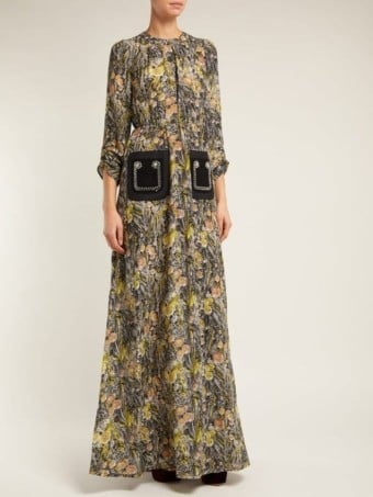 NO. 21 Floral-print Silk-Crepe Black Multi Dress