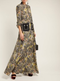 NO. 21 Silk Crepe Black / Floral Printed Dress
