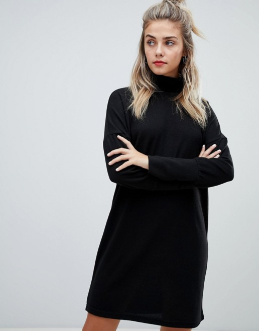 NOISY MAY Roll Neck Batwing Knitted Black Dress