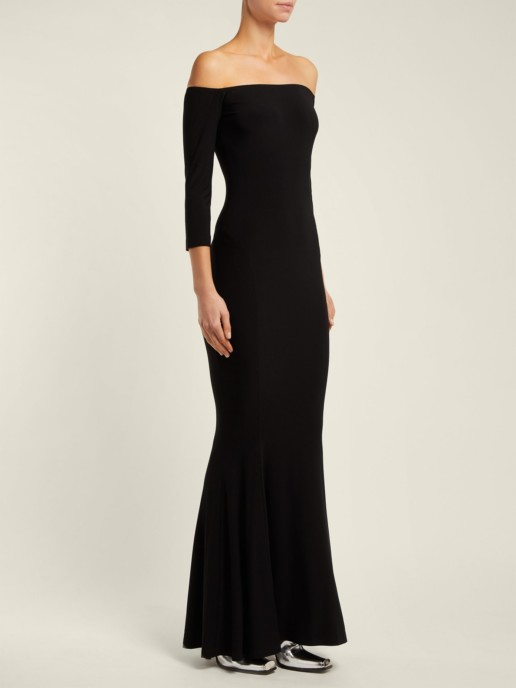NORMA KAMALI Off-The-Shoulder Fishtail Black Dress
