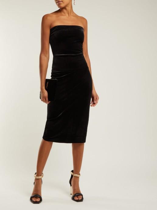 NORMA KAMALI Strapless Velvet Midi Black Dress