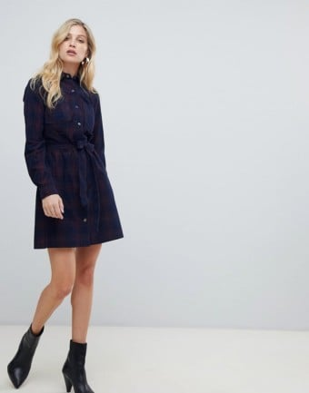 OASIS Tie Waist Shirt Blue Dress