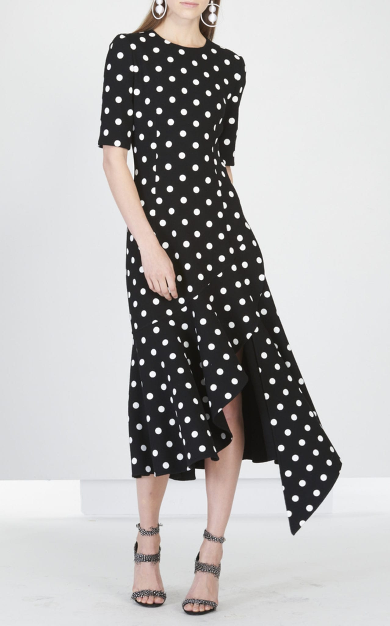 Oscar De La A Asymmetric Ruffle Polka Dot Wool Blend Midi Black Dress