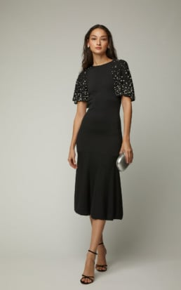 OSCAR DE LA RENTA Cape-Effect Faux Pearl Embellished Wool Black Dress