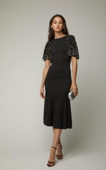 OSCAR DE LA RENTA Cape-Effect Faux Pearl Embellished Wool Black Dress