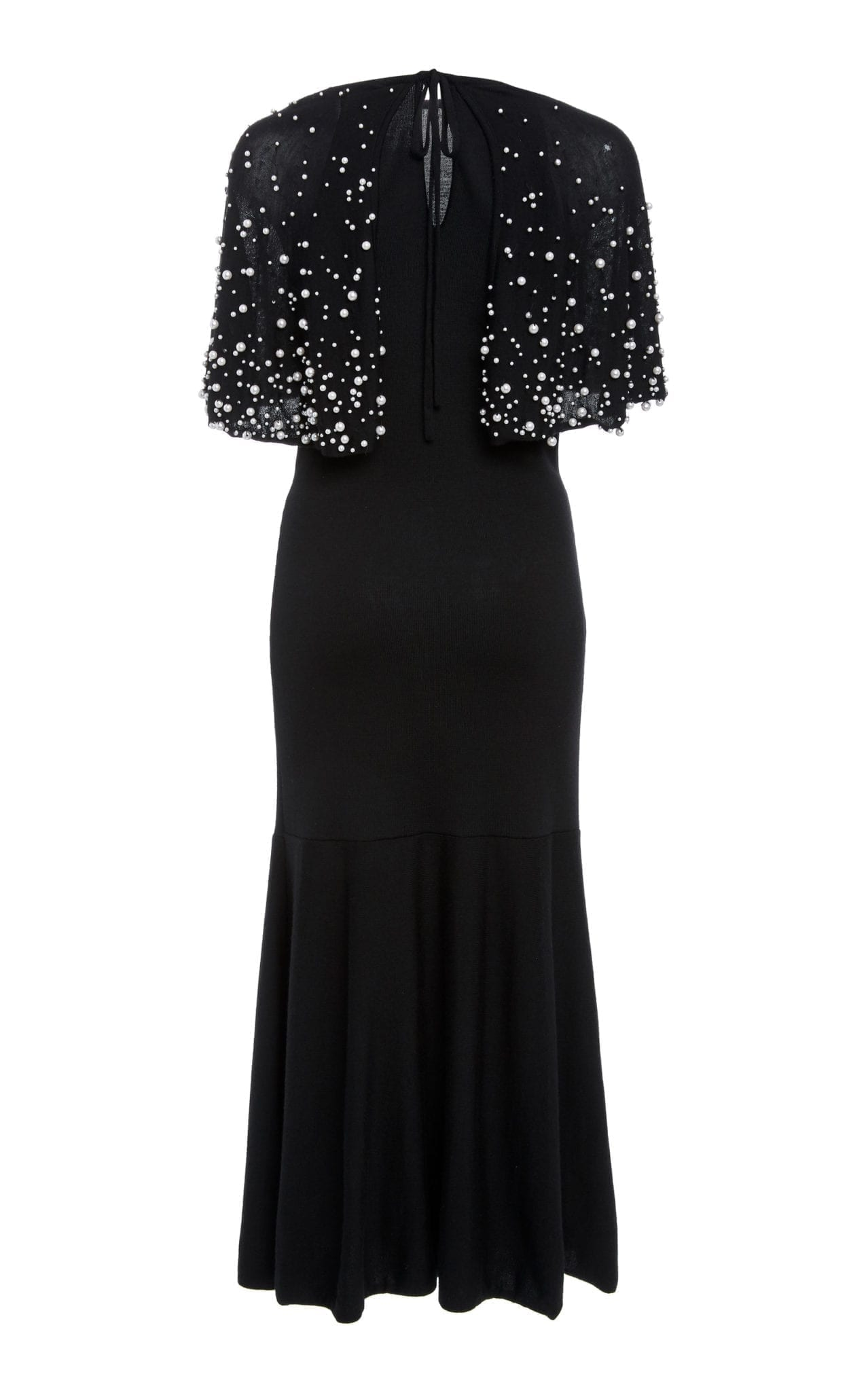 lana de negro Oscar Renta La perla de efecto Vestido con De adornada de sintética qU6EnCE
