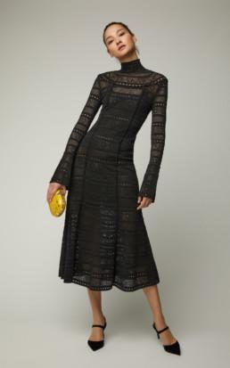 OSCAR DE LA RENTA Crochet-Knit Lace Turtleneck Black Dress