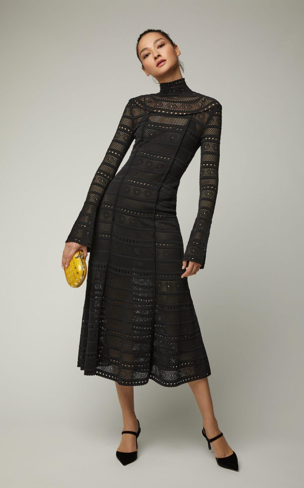 63989ab05d07 OSCAR DE LA RENTA Crochet-Knit Lace Turtleneck Black Dress - We ...