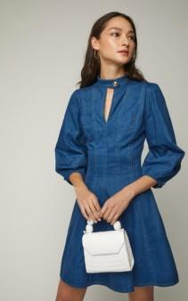 OSCAR DE LA RENTA Cutout Pleated Denim Mini Blue Dress