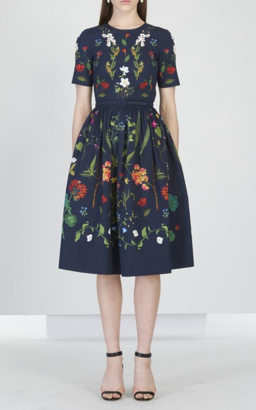 OSCAR DE LA RENTA Floral Embroidered Stretch-Cotton Midi Navy Dress