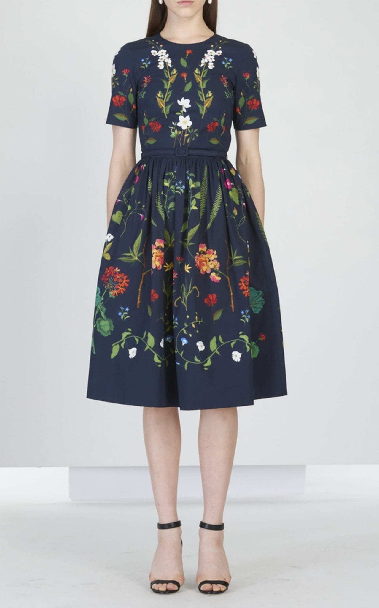 OSCAR DE LA RENTA Floral Embroidered Stretch-Cotton Midi Navy Dress