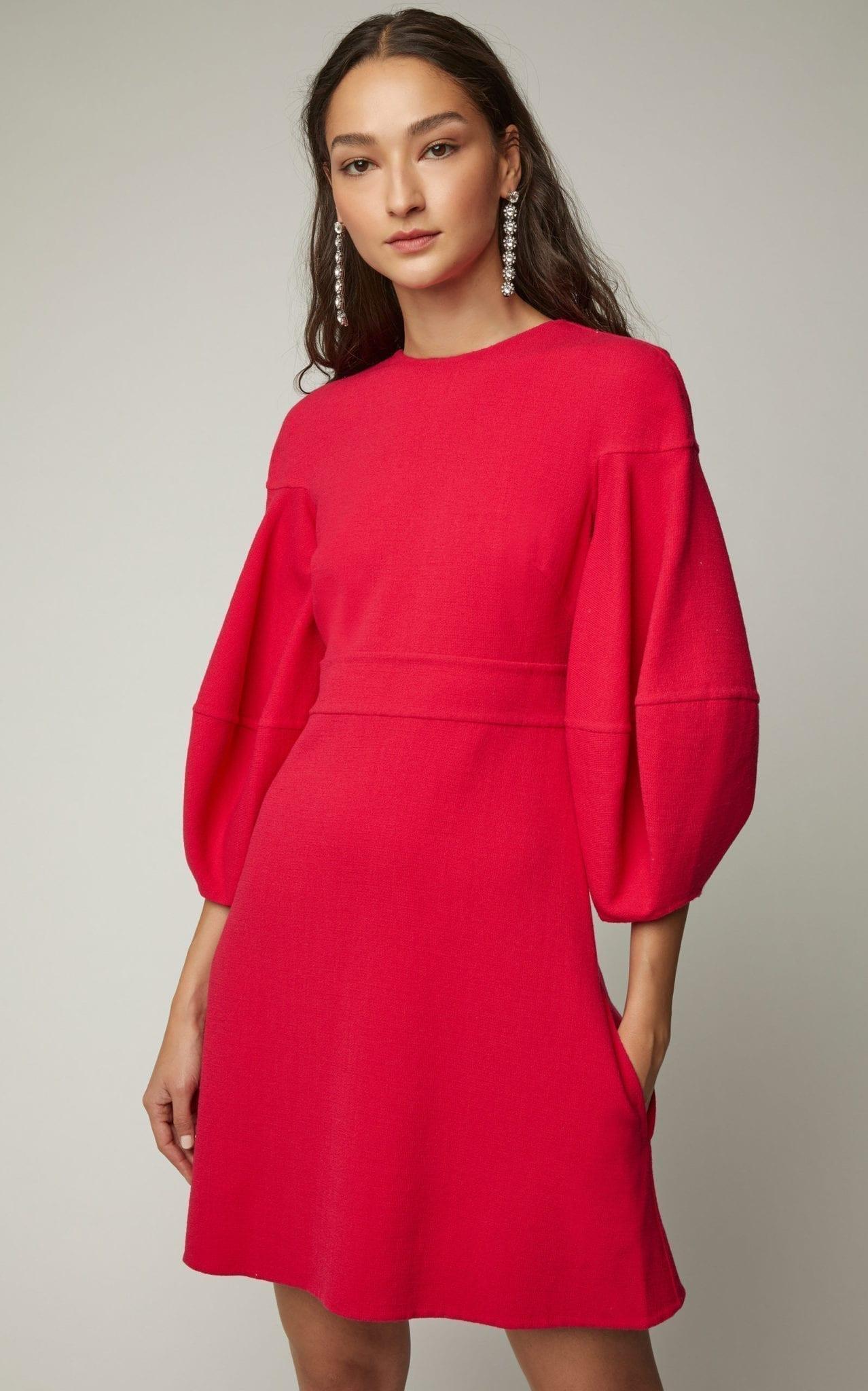 OSCAR DE LA RENTA Fluted Wool-Blend Cady Mini Red Dress