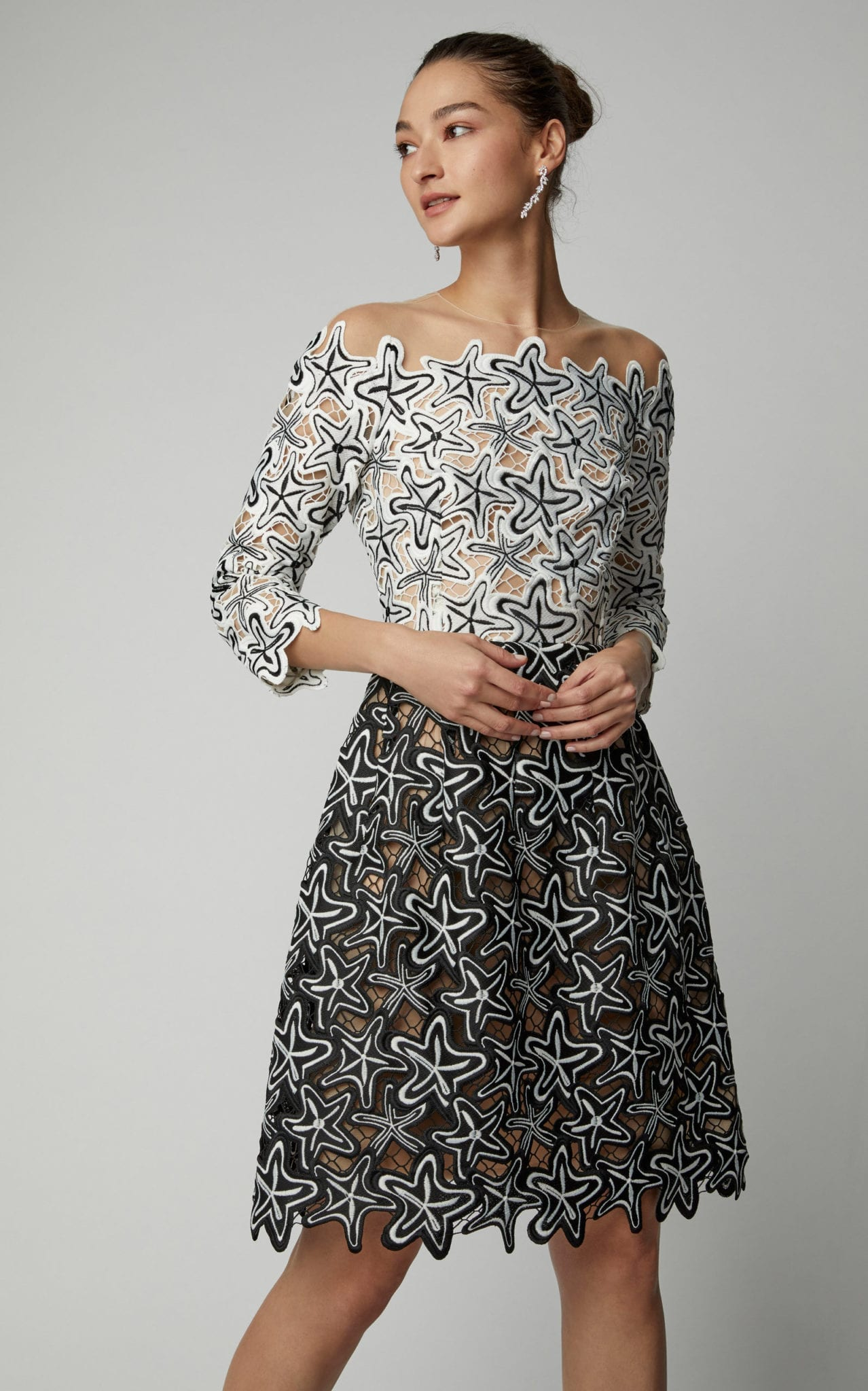 OSCAR DE LA RENTA Illusion Guipure Lace Midi Black Multi Dress