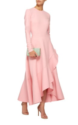 OSCAR DE LA RENTA Ruffled Wool-Blend Midi Pink Dress