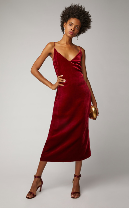 OSCAR DE LA RENTA Satin-Crepe Midi Burgundy Dress