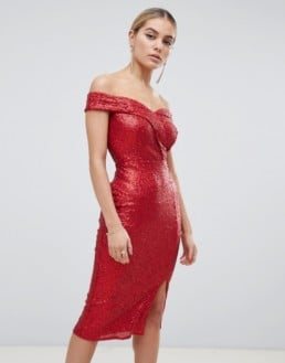 OUTRAGEOUS FORTUNE Sequin Bardot Midi Red Dress