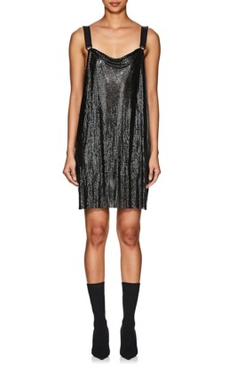 PACO RABANNE Metal-Mesh Mini Black Dress