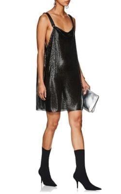 PACO RABANNE Metal-Mesh Mini Black Dress