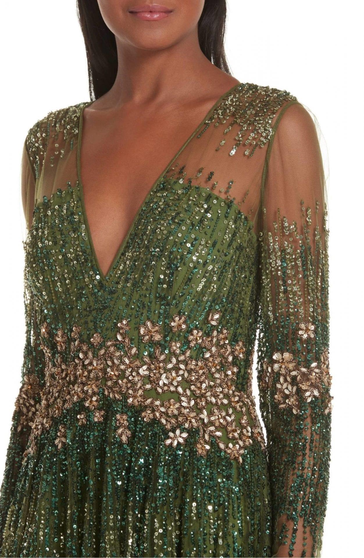 PAMELLA ROLAND Crystal Embellished A-Line Green Gown - We Select Dresses ddaeb6257