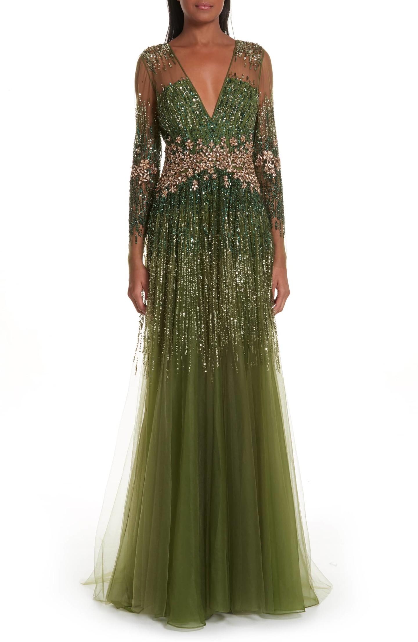 PAMELLA ROLAND Crystal Embellished A-Line Green Gown