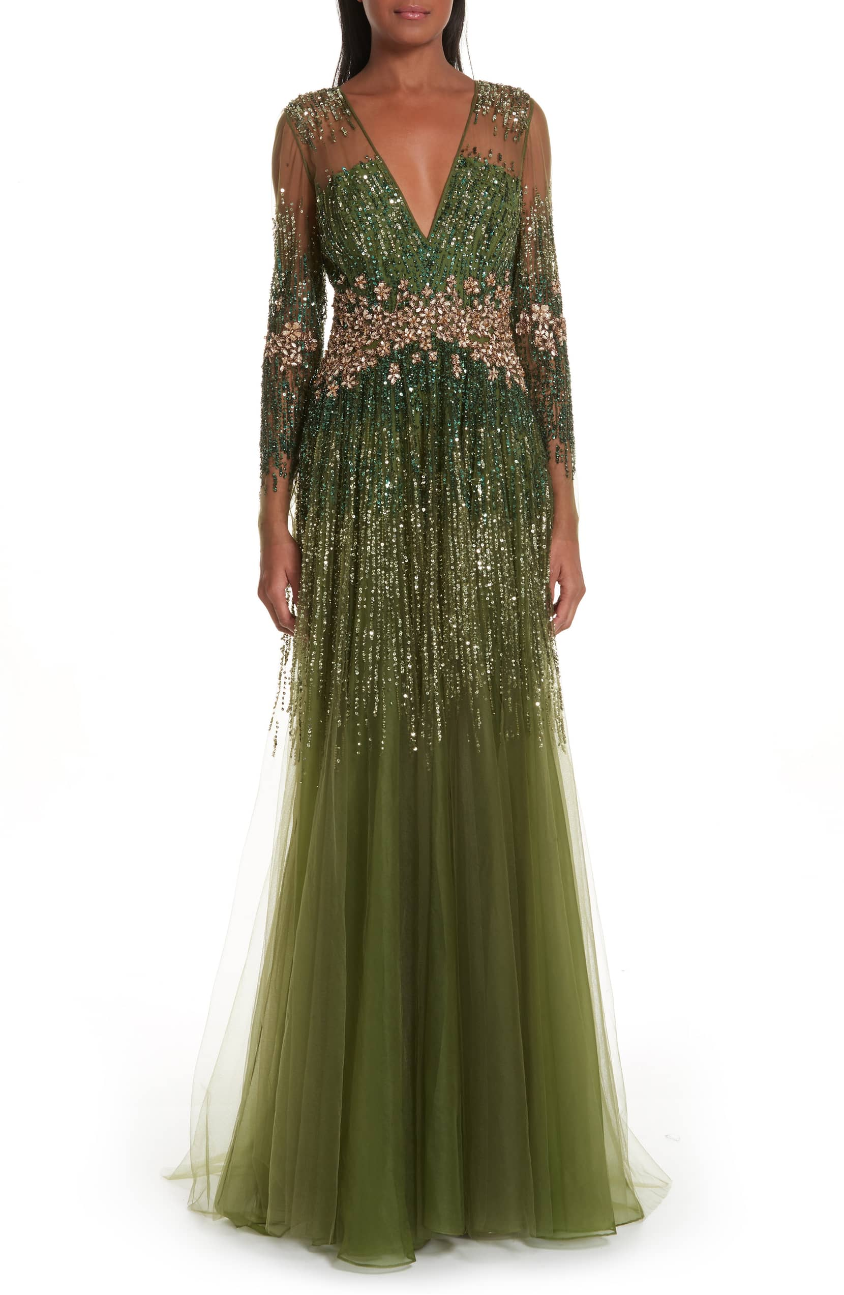 PAMELLA ROLAND Crystal Embellished A-Line Green Gown