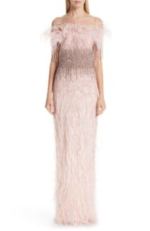 PAMELLA ROLAND Feather Trim Embellished Column Pink Gown