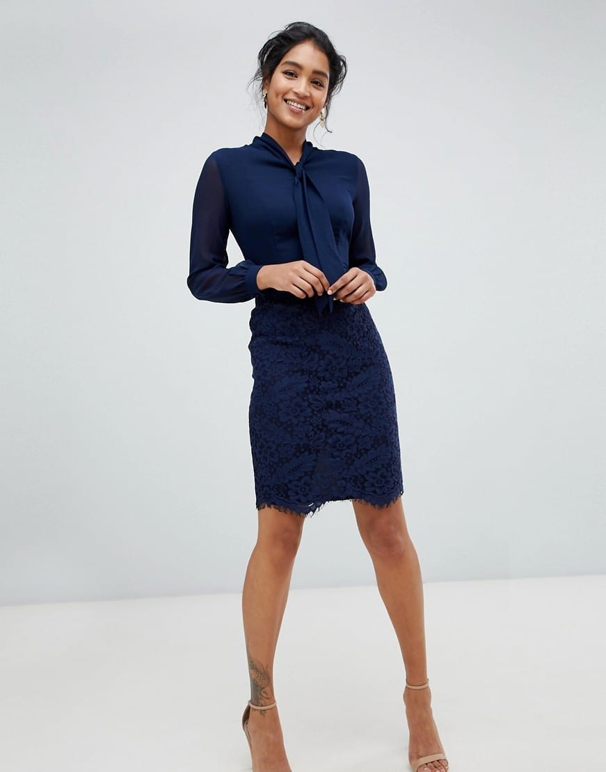PAPER DOLLS 2 In 1 Lace Skirt Navy Dress