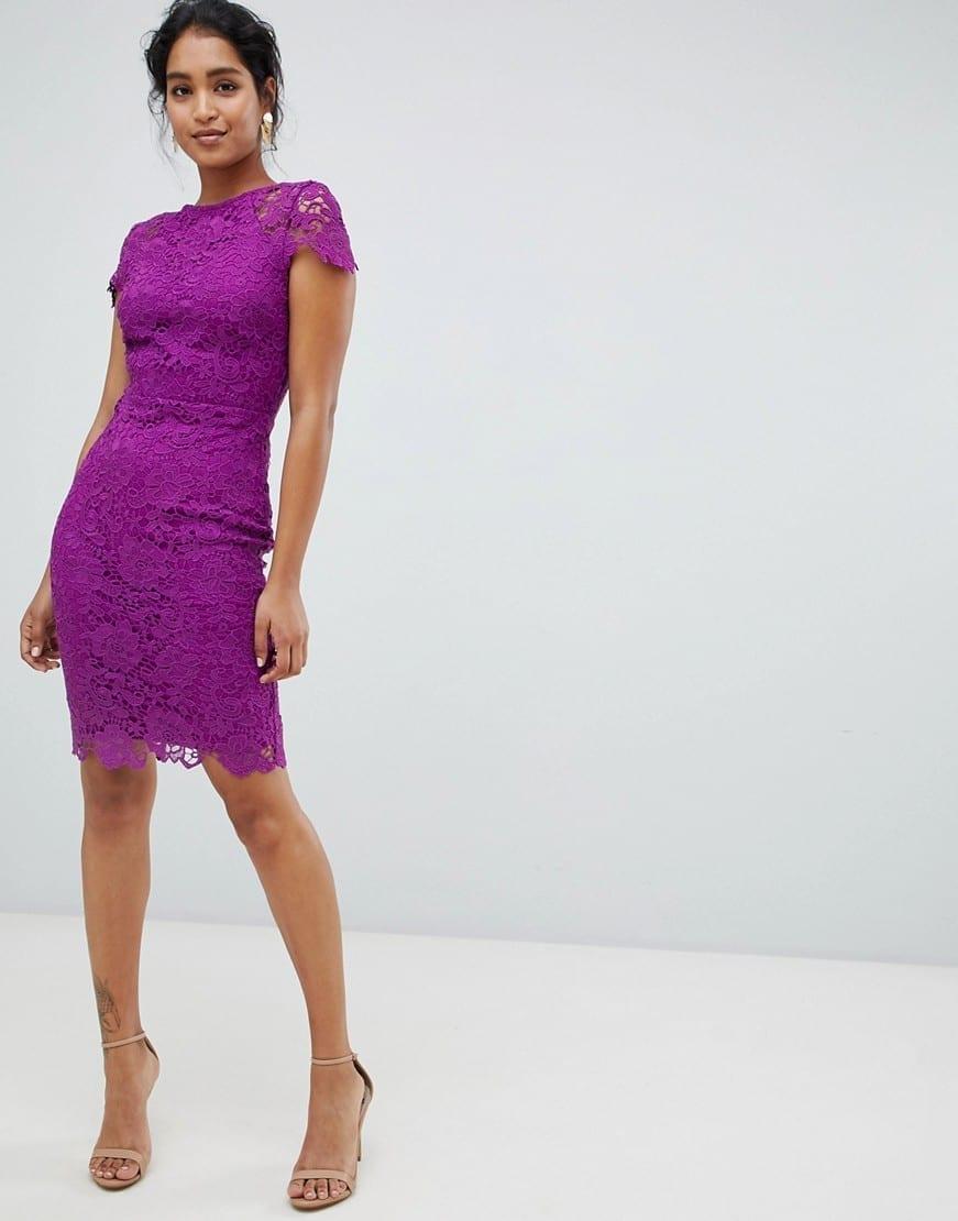 PAPER DOLLS Cap Sleeve Lace Pencil Purple Dress