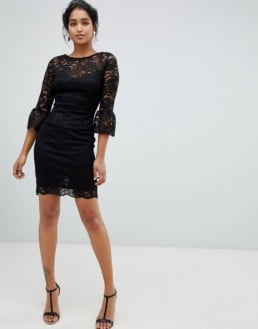 PAPER DOLLS Frill Sleeve Lace Midi Black Dress