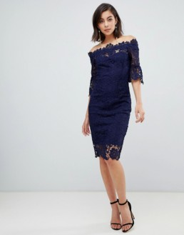 PAPER DOLLS Frill Sleeve Off Shoulder Crochet Navy Dress