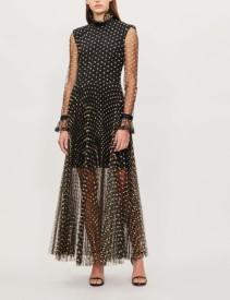 PHILOSOPHY DI LORENZO SERAFINI Ruffled Collar Polka Dot Print Chiffon Black Dress
