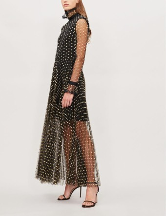 PHILOSOPHY DI LORENZO SERAFINI Ruffled Collar Polka Dot Print Chiffon Black Dress