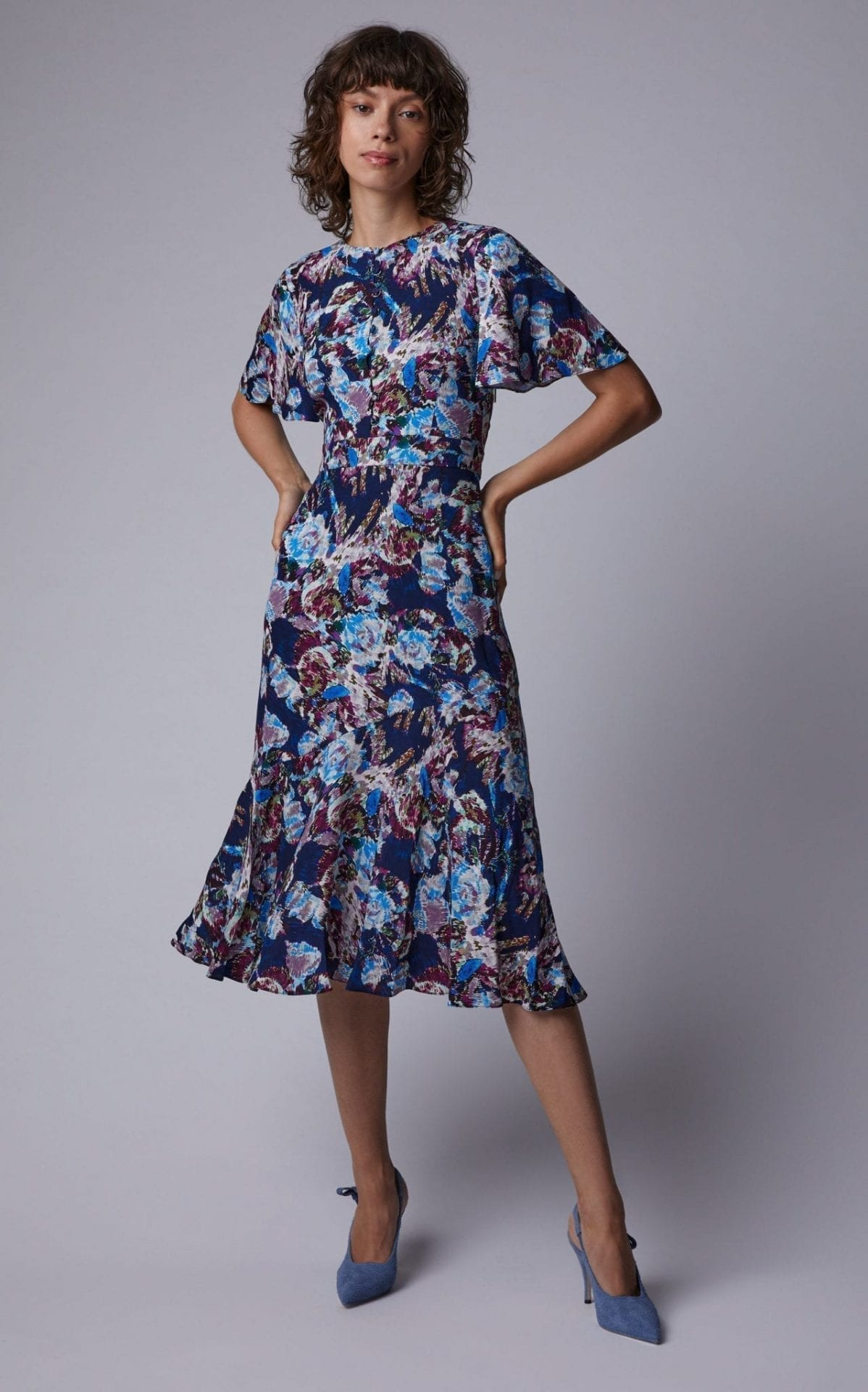 PRABAL GURUNG Floral-Print Silk Midi Print Dress