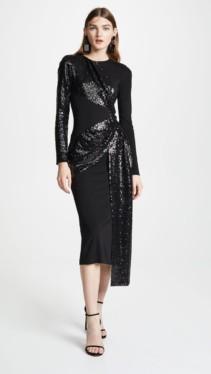 PRABAL GURUNG Shilu Twist Front Black Dress