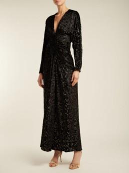 RACIL Rita Velvet-Devoré Midi Black Dress