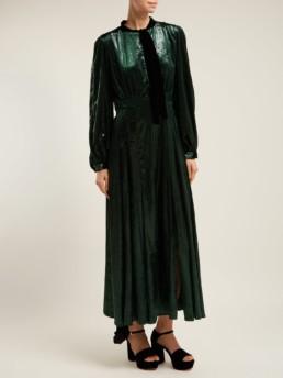RAQUEL DINIZ Armonia Tie Neck Velvet Green Gown