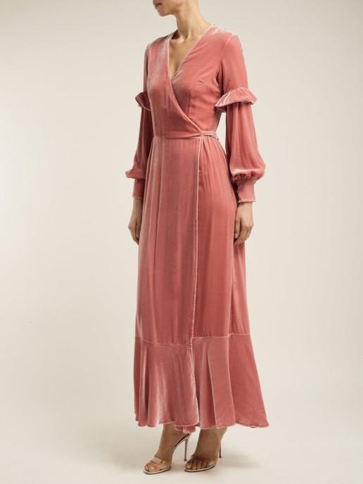 RAQUEL DINIZ Aurora Silk Velvet Wrap Pink Dress