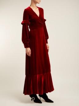 RAQUEL DINIZ Aurora Silk Velvet Wrap Red Dress